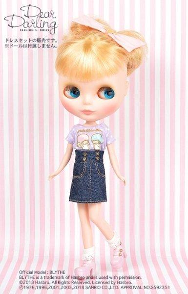 画像1: Blythe公式ドリーウェア:ネオブライスサイズ(22cmドール服)日本限定販売『 ドール用Tシャツ【サンリオ リトルツインスターズ】』 (1)