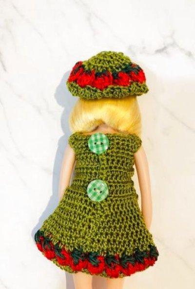 画像1: 花布糸様 制作 【 イチゴのワンピース 】りかちゃん、 size