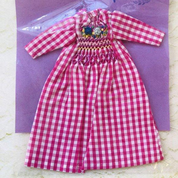 画像1: 花布糸様制作『ピンクチェックのスモッキング刺繍ロングワンピース』リカちゃん相当size (1)
