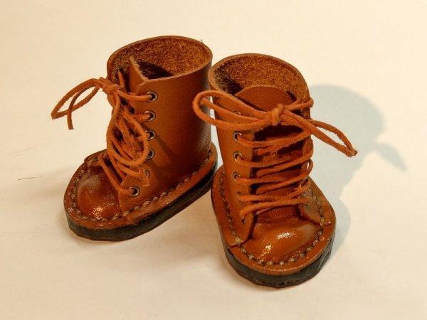 画像1: gohongi様制作革製ブーツ「茶」Tuesday's Childサイズ (1)
